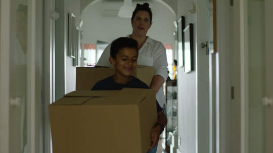 Mum and son moving into new house