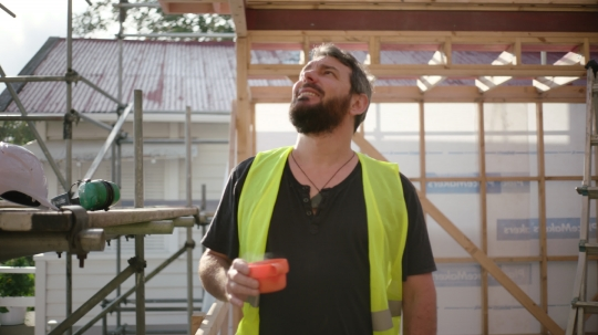 Builder takes coffee break