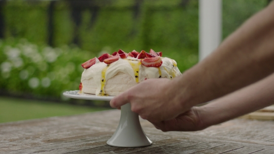 Pavlova placed on table - stock video