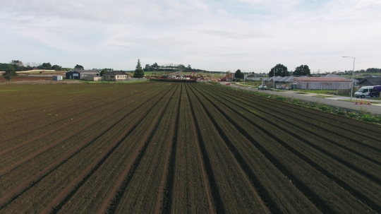 From crop field to residential development - stock video