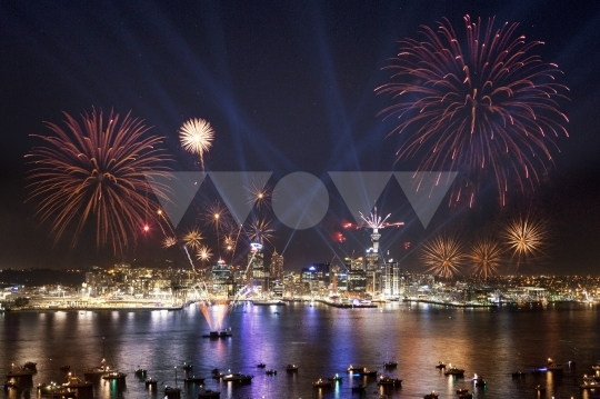 New Zealand, Auckland, fireworks above Auckland - stock photo